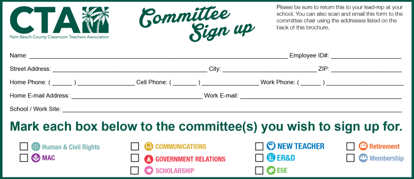 CTA Committee Sign Up – Palm Beach County CTA