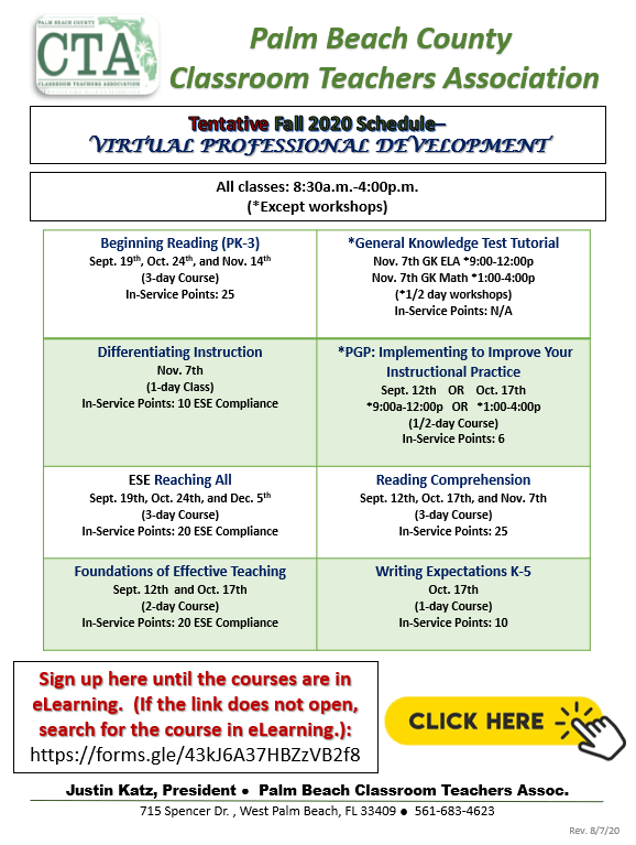 CTA 2020 Tentative Fall Professional Development Schedule