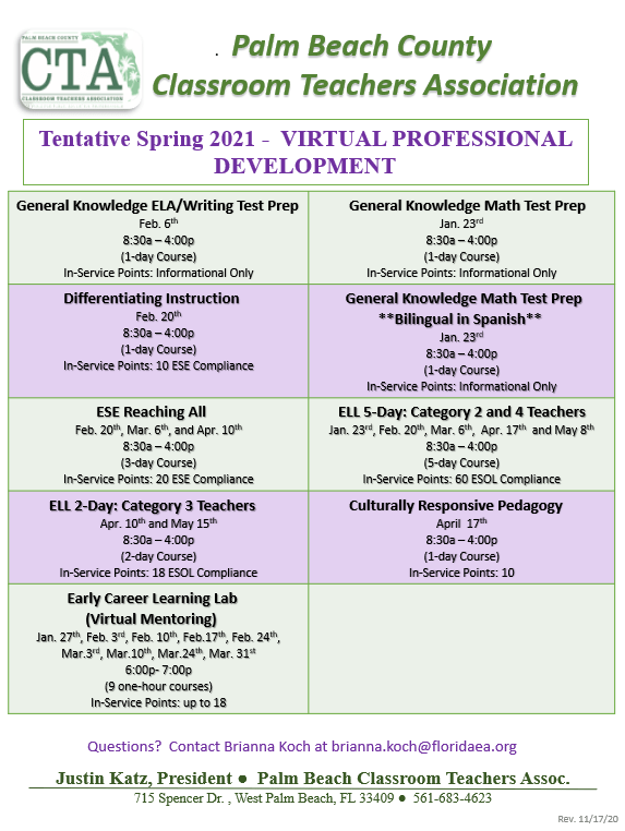 CTA Spring 2021 Professional Development Schedule