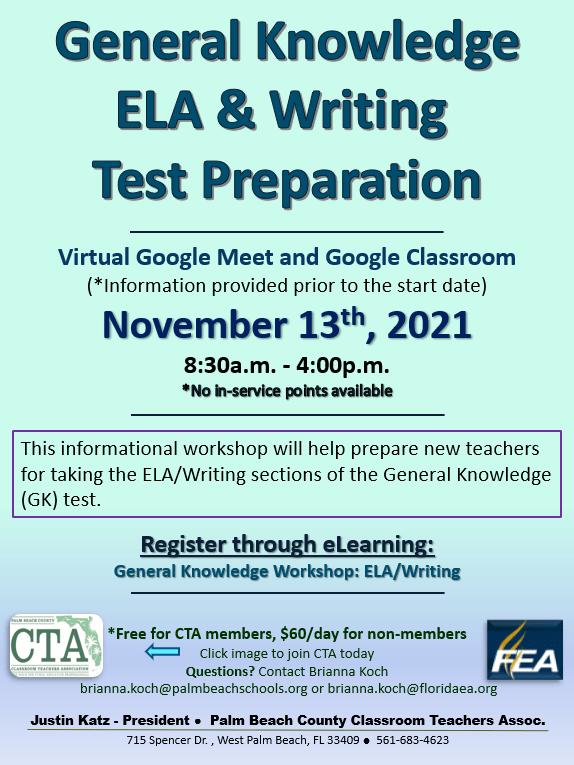 CTA PD – General Knowledge ELA & Writing Test Prep