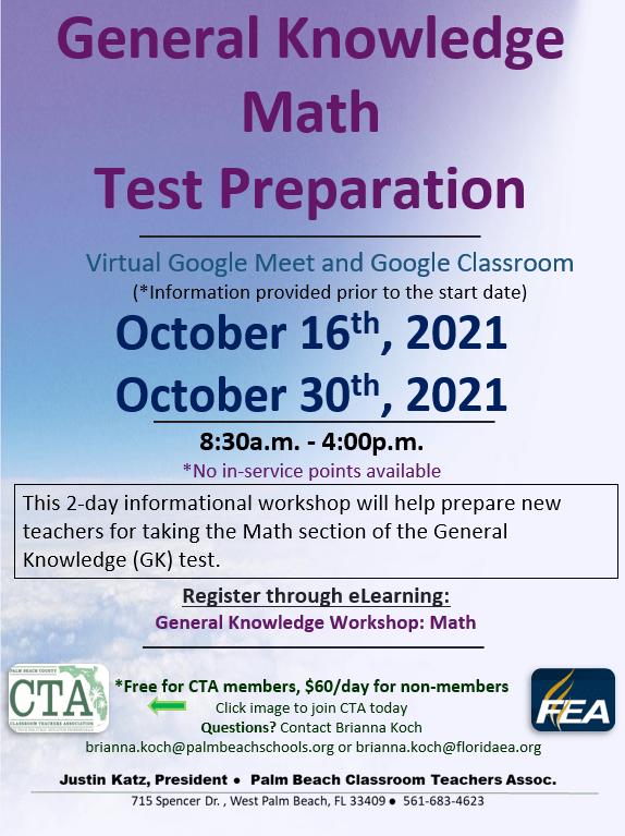 CTA PD – General Knowledge Math Test Prep