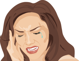 Graphical image of a woman suffering from head ache