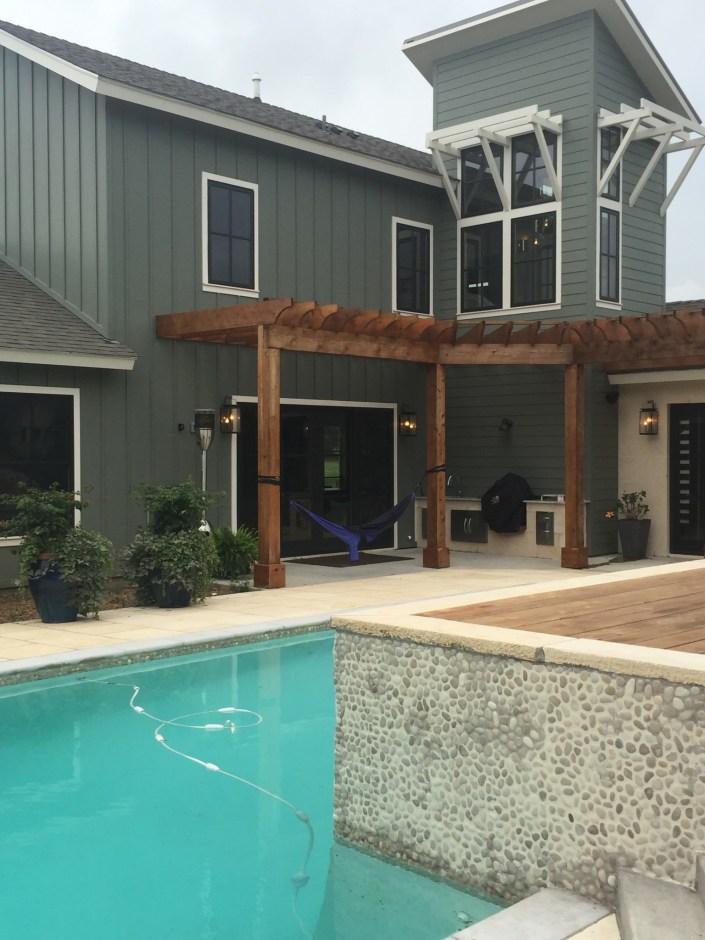 Nautical inspired modern pool trellis design