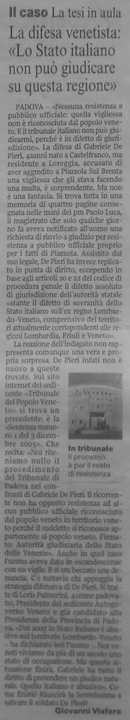 Corriere della Sera veneto 6 ottobre 2009. Articolo per l'autogoverno del popolo veneto.