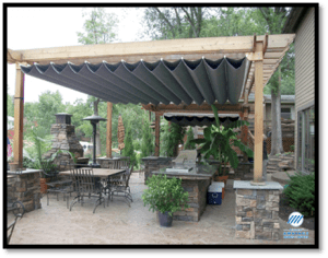 Add an under pergola canopy to provide UV Sun Protection on your patio spaces in Greenville SC.