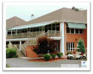 - A commrcial retractable awning was added to this golf club to give customers cooler outdoor seating . These retractable awnings are available in Greenville - Spartanburg - Anderson.