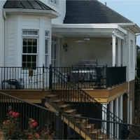 We installed this awning at our Easley, SC customer's home. They love to entertain and they experience 15 – 20 degree cooler temperatures now. When opened, the grill smoke and heat goes out the top, but still protects patio from rain.