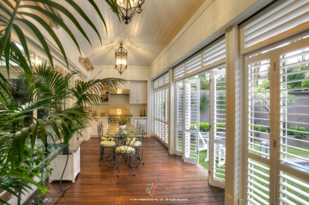 Let Palmetto Outdoor Spaces help you create the perfect outdoor living space with WeatherWell Shutters.