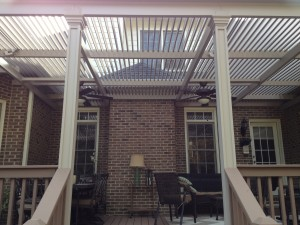 These Greenville SC homeowners love the look and function of their Louvered Roof Cover.  Due to U-Shape and fireplace they were limited on choices for covering their outdoor space.