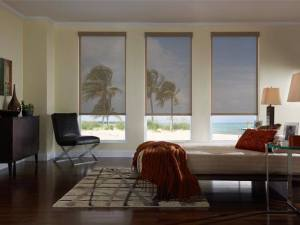 Beach home with window shades