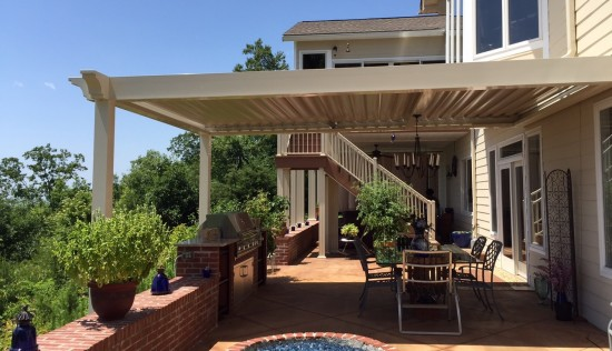 Premier Pergola installed by Palmetto Outdoor Spaces in Salem, SC.  Opens and closes for sun, shade, and rain protection.