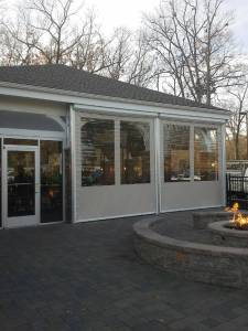 Customers can eat comfortably during winter months outside when Rollup clear vinyl curtains are dropped.  Customers, guest, and homeowners are blocked from rain, wind, and cold air.