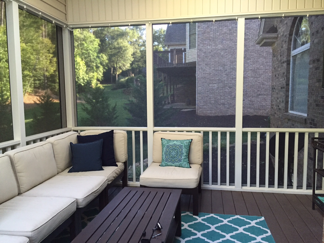 Fenetex retractable screens drop shades palmetto for Retractable patio screens