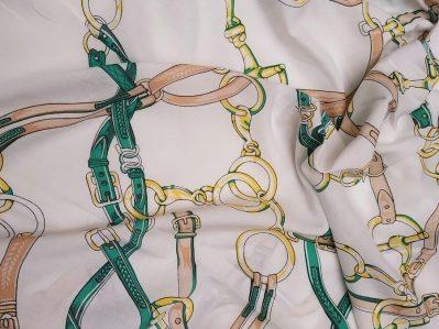 Ткань Штапель принт Цепи Белые купить оптом и в розницу недорого