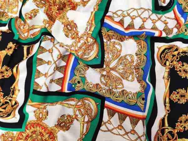 Ткань штапель платочный принт зелёный купить оптом и в розницу недорого в Украине