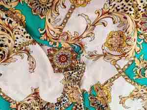 Ткань штапель в стиле Версаче бирюза купить оптом и в розницу в Украине