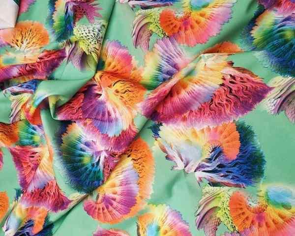 Ткань суперсофт цветы на мятном фоне купить оптом недорого