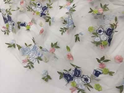 Ткань сетка стрейч Цветы нежные