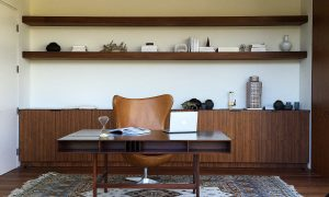 Home Office Desk and Shelves in Walnut Wood