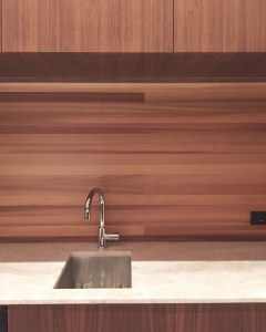Kitchen Cabinets made with Walnut by Cedar Backsplash