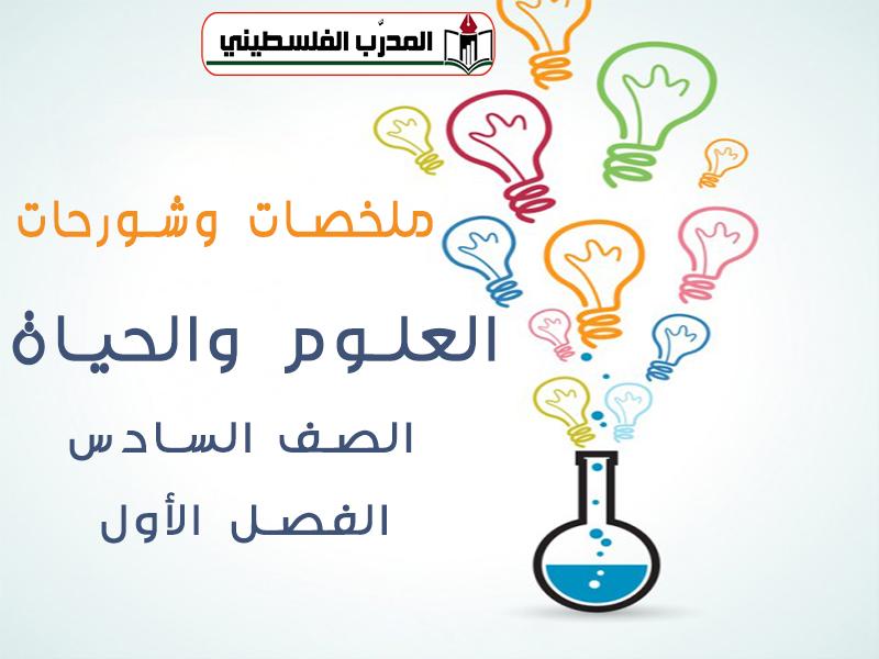 شروحات وملخصات في العلوم للصف السادس الفصل الأول