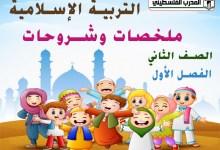 جميع الملخصات والشروحات لمادة التربية الإسلامية للصف الثاني الفصل الأول