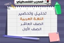 نماذج تحليل وتحضير للمعلمين في اللغة العربية الصف العاشر الفصل الأول