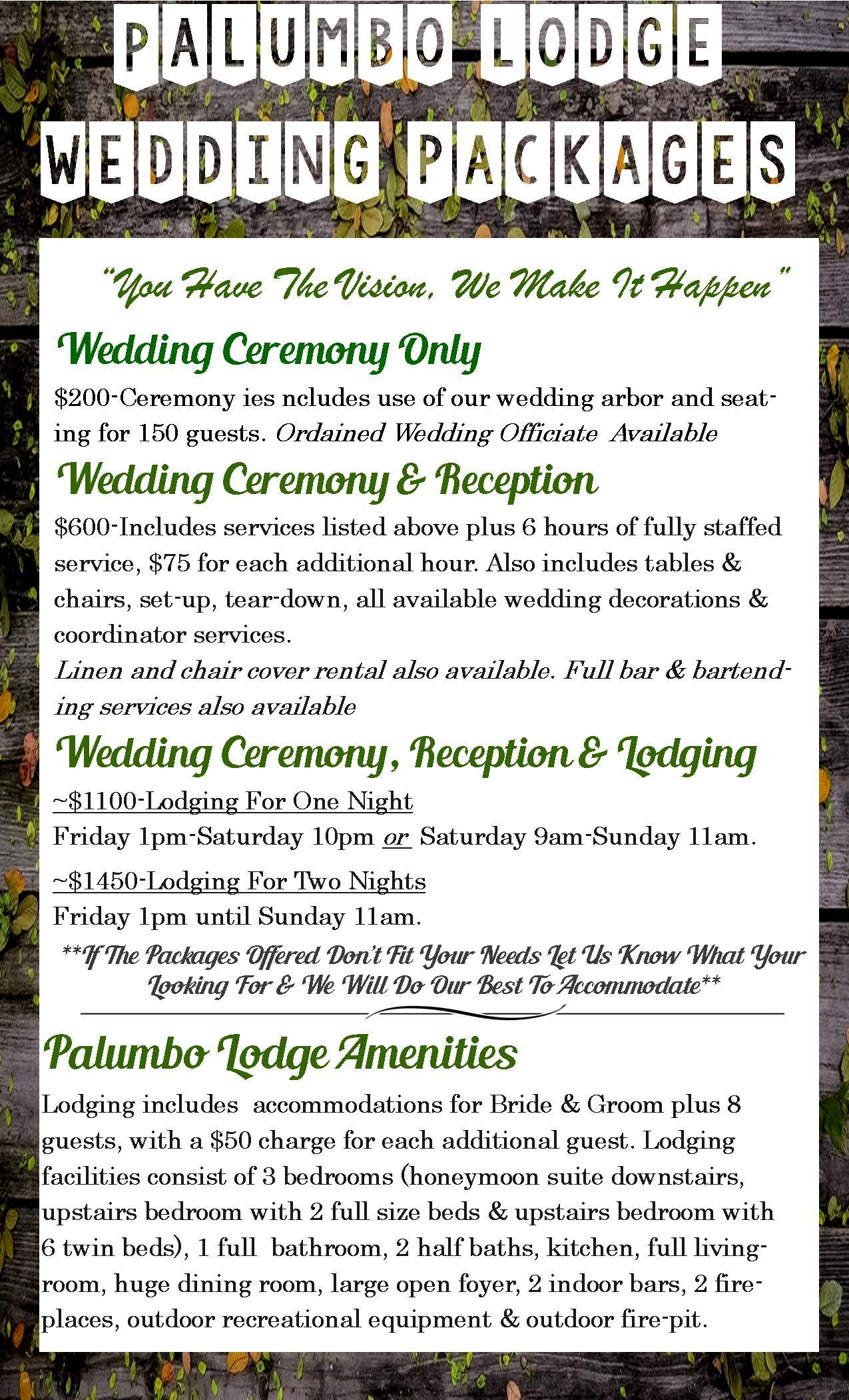 Lodge Menu Wedding Packages