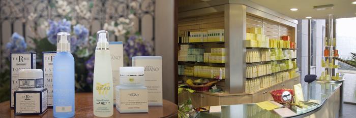 Da sinistra: un prodotto di Terme di Saturnia Cosmetica Termale; prodotti cosmetici delle Terme di Salsomaggiore e di Tabiano; store all'interno dello stabilimento di Terme di Tabiano.