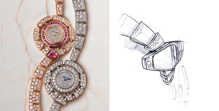 Uno schizzo della collezione Serpenti Jewelry, sotto due orologi della linea Serpenti Incantati e il render della nuova manifattura Bulgari a Valenza