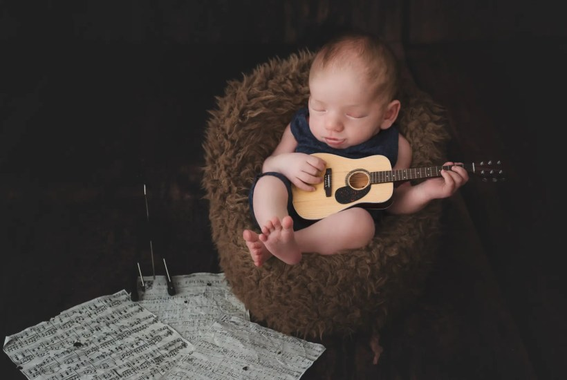 Newborn Photography Ashland KY Newborn Guitar Imagination Session