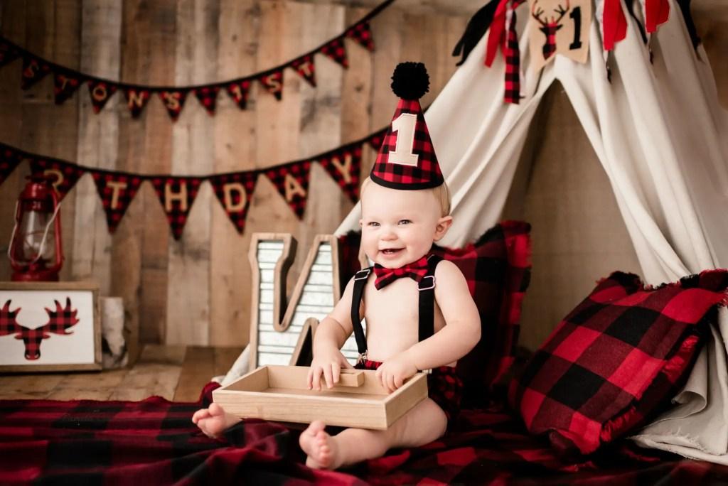 Boy Lumberjack Birthday Session