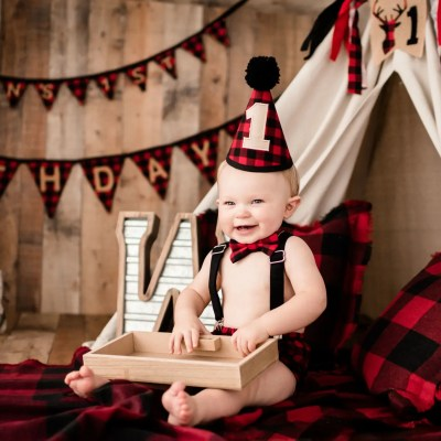 Portsmouth 12 Month Baby Milestone | Weston's Lumberjack Imagination Session