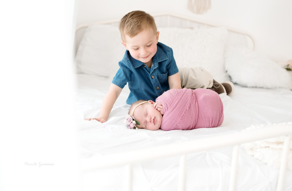 Newborn Photography with Sibling Photos