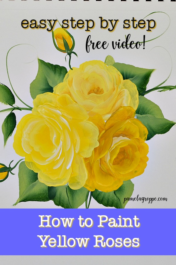 hand painted yellow roses in acrylics with text overlay
