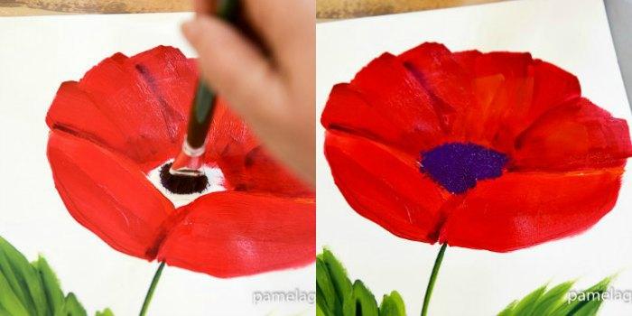 paint poppy centers