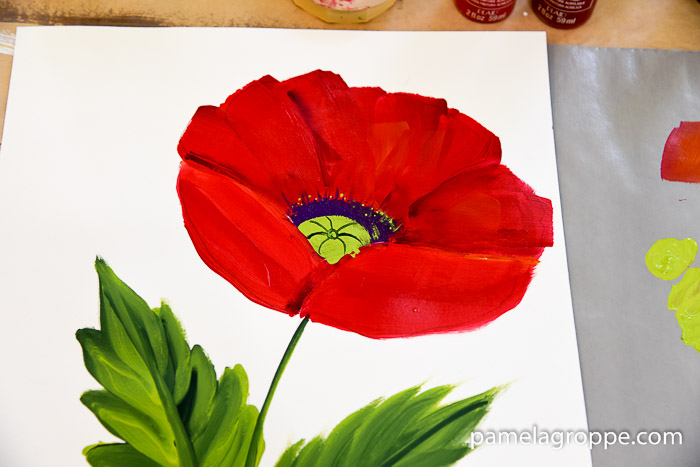 How to Paint a Large Red Poppy