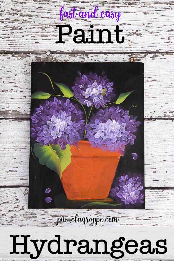 acrylic painting of purple hydrangeas in a terra cotta pot with text overlay, Fast and easy, Paint Hyrdrangeas, pamelagroppe.com