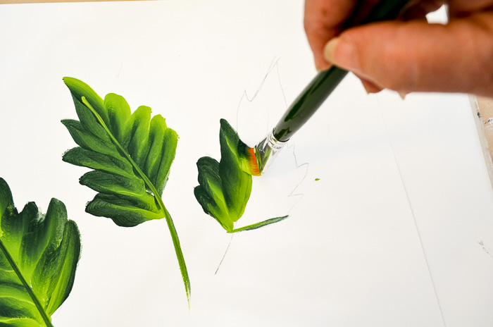 How to Paint the Large Red Poppy Leaves