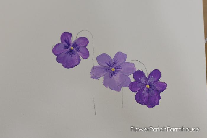 painting violet petals, How to Paint Violets