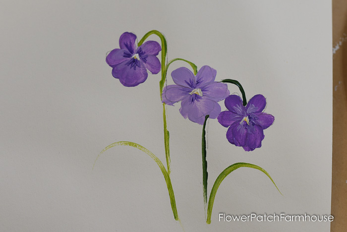 hand painted violets, , How to Paint Violets