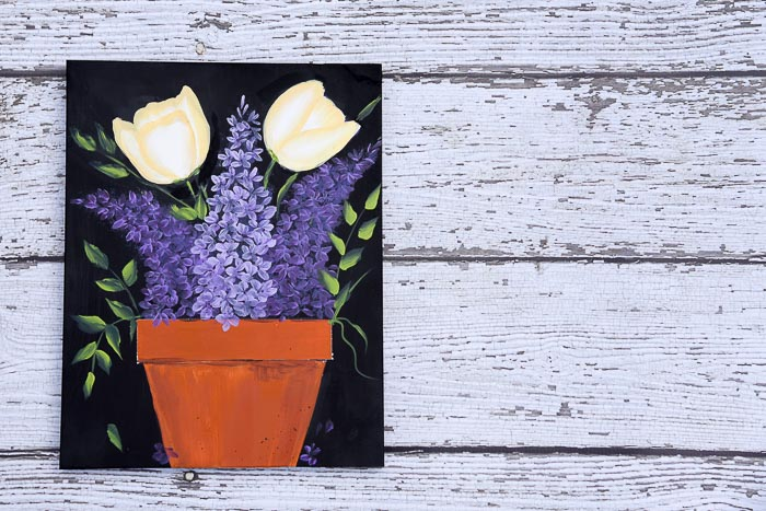 Paint Lilacs and Tulips in a Pot