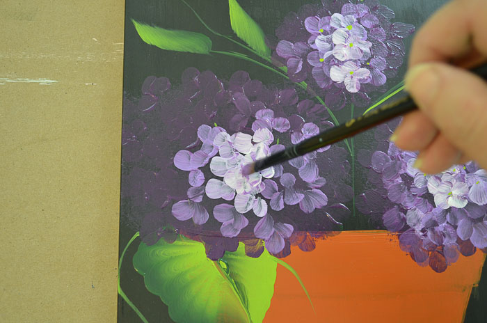 Purple hydrangeas beginning petals, highlights, Paint Hydrangeas in a Terra Cotta Pot