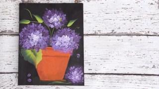 Paint Hydrangeas in a Terra Cotta Pot