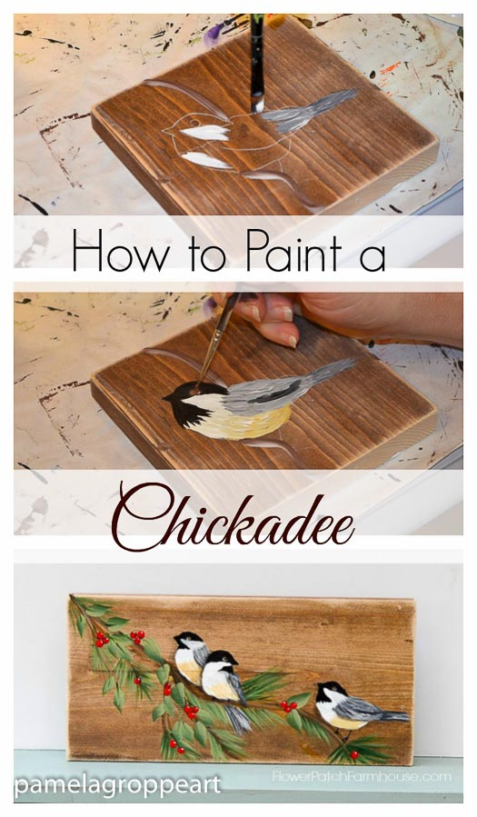 how to paint a chickadee