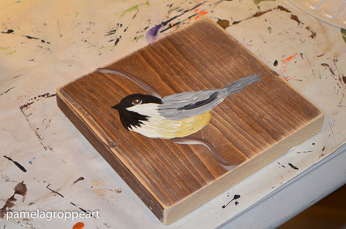 painting a chickadee in acrylics tutorial