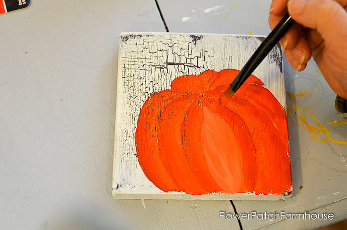 Highlight Center of pumpkin with lighter color acrylic paint