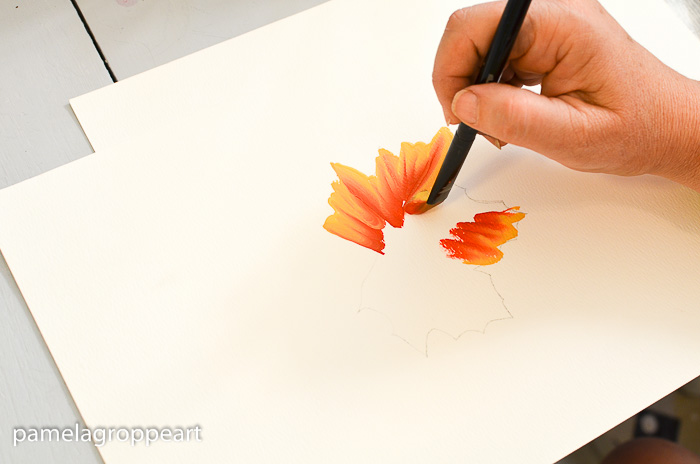 Center of leaf stroke on How to Paint Fall Leaves