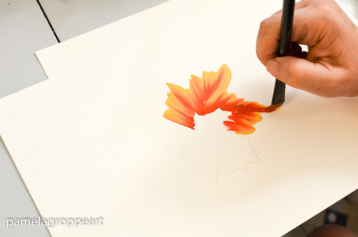 End of tip stroke on How to Paint Fall Leaves