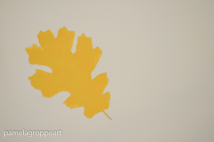 Yellow painted oak leaf, How to Paint Oak Leaves